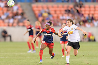 Houston, TX - Sunday Oct. 09, 2016: Crystal Dunn, Elizabeth Eddy during the National Women's Soccer League (NWSL) Championship match between the Washington Spirit and the Western New York Flash at BBVA Compass Stadium. The Western New York Flash win 3-2 on penalty kicks after playing to a 2-2 tie.