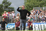 Actor Philip Glenister watches his tee shot on the first hole.<br /> Celebrity Cup Golf<br /> Celtic Manor Resort<br /> 04.07.14<br /> &copy;Steve Pope-SPORTINGWALES