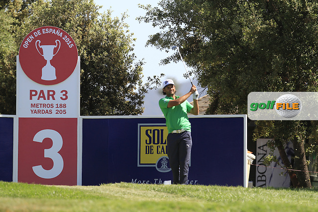 Johan Edfors (SWE) on the 3rd tee during Round 2 of the Open de Espana  in Club de Golf el Prat, Barcelona on Friday 15th May 2015.<br /> Picture:  Thos Caffrey / www.golffile.ie