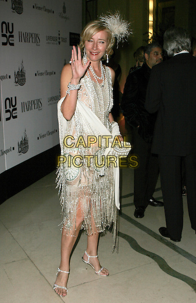 EMMA THOMPSON.Lavender Trust Party, Claridge's Hotel, London, UK..March 14th, 2007.full length silver beaded beads dress jewel encrusted flapper feathers scarf pearl necklace clutch purse tassles hand waving.CAP/AH.©Adam Houghton/Capital Pictures