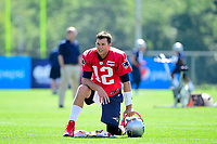 July 28, 2017: New England Patriots quarterback Tom Brady (12) takes a knee at the New England Patriots training camp held at Gillette Stadium, in Foxborough, Massachusetts. Eric Canha/CSM