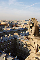 Stryge Chimera overlooking the city, Notre Dame de Paris, 1163 ? 1345, initiated by the bishop Maurice de Sully, Ile de la Cité, Paris, France. Picture by Manuel Cohen