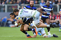Kahn Fotuali'i of Bath Rugby is tackled by Michael Rhodes of Saracens. Aviva Premiership match, between Bath Rugby and Saracens on September 9, 2017 at the Recreation Ground in Bath, England. Photo by: Patrick Khachfe / Onside Images