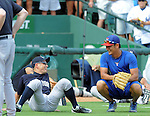Ichiro Suzuki (Yankees), Yu Darvish (Rangers),<br /> JULY 23, 2013 - MLB :<br /> Ichiro Suzuki of the New York Yankees talks with Yu Darvish of the Texas Rangers before the Major League Baseball game at Rangers Ballpark in Arlington in Arlington, Texas, United States. (Photo by AFLO)