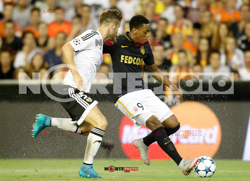 Valencia's Shkodran Mustafi and AS Monaco FC's Anthony Martial during Champions League 2015/2016 Play-Offs 1st leg match. August  19,2015. (ALTERPHOTOS/Acero)