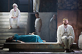"""Pictured: Roland Wood as Oedipus, the King and Susan Bickley as Jocasta, mother/wife of Oedipus. Dress rehearsal of Thebans. English National Opera gives world premiere of British composer Julian Anderson's first opera """"Thebans"""" at the London Coliseum. Thebans is based on the three Theban plays by Sophocles that chronicle the cursed life of Oedipus and his daughter Antigone. Thebans opens at the London Coliseum on 3 May 2014 for 7 performances. The new production is supported by The Boltini Trust, PRS for Music Foundation and ENO's Contemporary Opera Group, a co-production with Theater Bonn in Germany. With Roland Wood as Oedipus, Peter Hoare as Creon (Jocasta's brother), Matthew Best as Tiresias (blind prophet), Susan Bickley as Jocasta (Oedipus' mother/wife) and Julia Sporsen as Antigone (Oedipus' daugher). Score by Julian Anderson, libretto by Frank McGuinness, directed by Pierre Audi and conducted by Edward Gardner."""