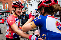 Picture by Alex Whitehead/SWpix.com - 13/05/2018 - British Cycling - HSBC UK National Women's Road Series - Lincoln Grand Prix - Rebecca Durrell of Storey Racing celebrates the win with Anna Kay.