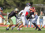 Palos Verdes, CA 11/03/17 - Justin Booth (Palos Verdes #56), Will Boss (Palos Verdes #3) and Jared Patterson (Peninsula #36) in action during the Palos Verdes vs Palos Verdes Peninsula CIF Varsity football game at Peninsula High School for the battle of the hill.