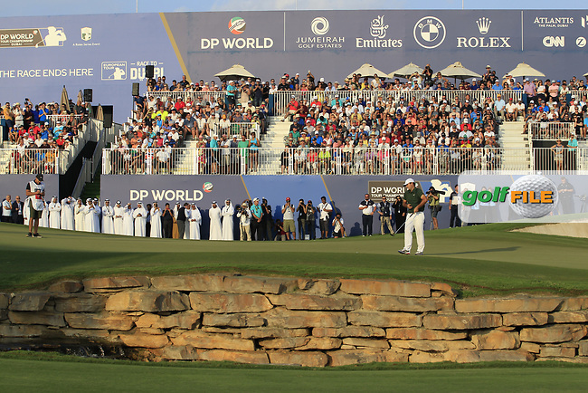 Patrick Reed (USA) during the final round of the DP World Tour Championship, Jumeirah Golf Estates, Dubai, United Arab Emirates. 18/11/2018<br /> Picture: Golffile | Fran Caffrey<br /> <br /> <br /> All photo usage must carry mandatory copyright credit (&copy; Golffile | Fran Caffrey)