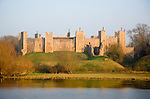 Framlingham castle curtain wall ramparts and the Mere, Suffolk, England