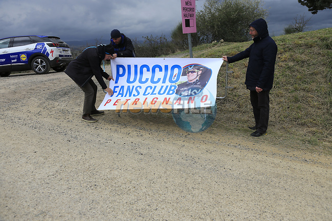 Salvatore Puccio (ITA) Team Sky fans on gravel sector 6 Pieve a Salti during the 2017 Strade Bianche running 175km from Siena to Siena, Tuscany, Italy 4th March 2017.<br /> Picture: Eoin Clarke   Newsfile<br /> <br /> <br /> All photos usage must carry mandatory copyright credit (&copy; Newsfile   Eoin Clarke)