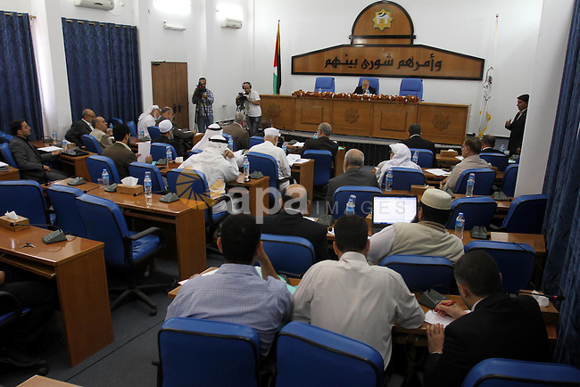The spokesman of the Palestinian Parliament in Gaza Strip, Ahmed Bahar meets with Members of the Palestinian Legislative council at the Legislative Council, in Gaza City on May 29, 2012. Photo by Mohammed Asad