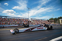 Sep 16, 2018; Mohnton, PA, USA; NHRA top fuel driver Steve Torrence (near) defeats Mike Salinas during the Dodge Nationals at Maple Grove Raceway. Mandatory Credit: Mark J. Rebilas-USA TODAY Sports
