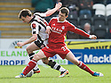 ST MIRREN'S PAUL MCGOWAN AND ABERDEEN'S RYAN JACK CHALLENGE FOR THE BALL