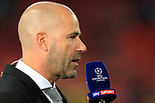 13th September 2017, Wembley Stadium, London, England; Champions League Group stage, Tottenham Hotspur versus Borussia Dortmund; Borussia Dortmund Manager Peter Bosz speaks to Sky Sports