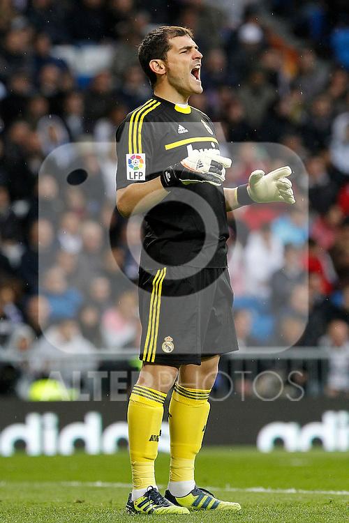 Real Madrid's Iker Casillas during La Liga match.April 14,2012. (ALTERPHOTOS/Acero)