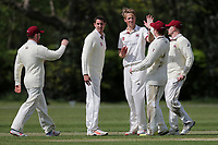 B Allison of Brentwood celebrates taking the wicket of B Patel during Brentwood CC vs Wanstead and Snaresbrook CC (batting), Shepherd Neame Essex League Cricket at The Old County Ground on 11th May 2019
