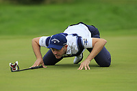 Stuart Manley (WAL) lines up his putt on the 3rd green during Sunday's Final Round of the Northern Ireland Open 2018 presented by Modest Golf held at Galgorm Castle Golf Club, Ballymena, Northern Ireland. 19th August 2018.<br /> Picture: Eoin Clarke | Golffile<br /> <br /> <br /> All photos usage must carry mandatory copyright credit (&copy; Golffile | Eoin Clarke)