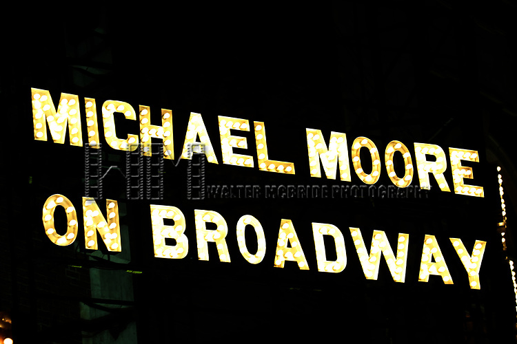 Michael Moore Theatre Marquee for the Broadway Opening Night of 'Michael Moore on Broadway - The Terms Of My Surrender' at the Belasco Theatre on August 10, 2017 in New York City.