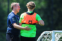 Steve Cooper Head Coach of Swansea City speaks with George Byers of Swansea City during the Swansea City Training at The Fairwood Training Ground in Swansea, Wales, UK. Thursday 25th Junes 2020