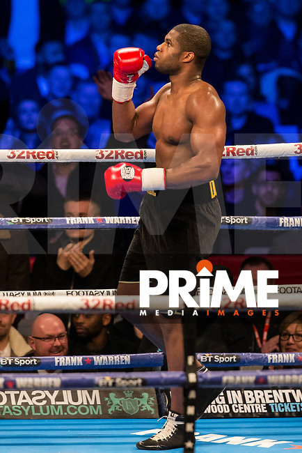 Daniel Dubois turns after his victory -  Heavyweight Contest contest between DANIEL DUBOIS 17st 1lb & DORIAN DARCH 16st 5lbs during the Boys are back in town - Frank Warren Boxing event at the Copper Box Arena, London, England on 9 December 2017. Photo by Andy Rowland.