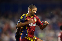 Alvaro Saborio (15) of Real Salt Lake celebrates scoring. The New York Red Bulls defeated Real Salt Lake 4-3 during a Major League Soccer (MLS) match at Red Bull Arena in Harrison, NJ, on July 27, 2013.