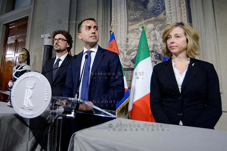 Roma, 14 Maggio 2018<br /> Danilo Toninelli, Luigi Di Maio, Giulia Grillo.<br /> Consultazioni al Quirinale per la formazione del nuovo Governo
