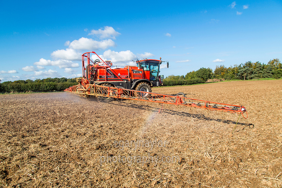 Spraying cultivated stubble with Roundup - Norfolk, October