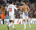 AC Milan's Alessandro Nesta and Pato celebrating result at the end of Champions League match on september 13th 2011...Photo: Cesar Cebolla / ALFAQUI