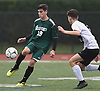 Matt Garcia #19 of Seaford, left, makes a pass during a Nassau County Conference A-6 varsity boys soccer game against Island Trees at Seaford High School on Monday, Oct. 8, 2018. He scored the first goal early in the second half. The game ended in a 1-1 tie.