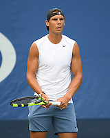 FLUSHING NY- AUGUST 31: Rafael Nadal on the practice court at the USTA Billie Jean King National Tennis Center on August 31, 2016 in Flushing, Queens. Credit: mpi04/MediaPunch