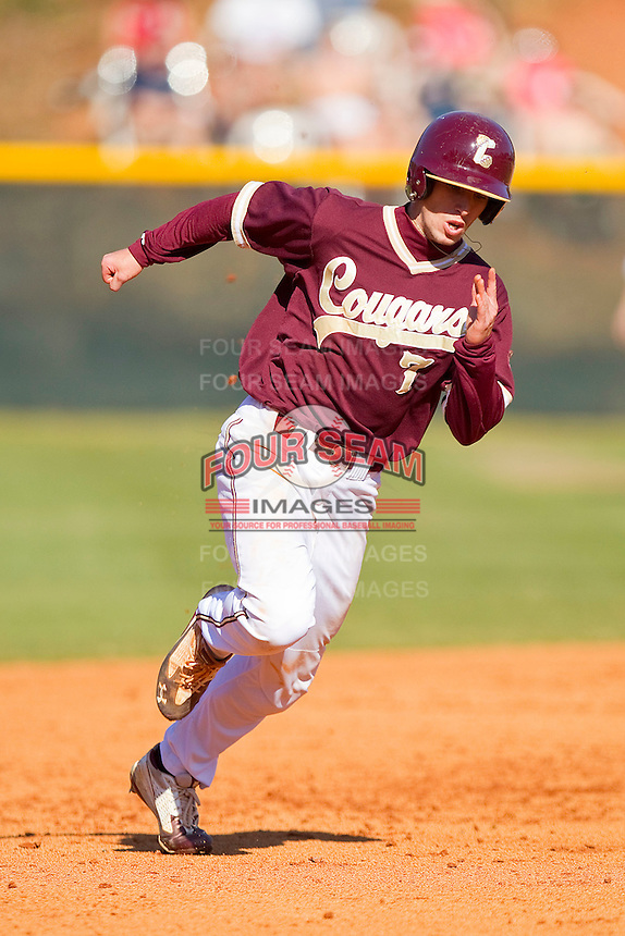 Marty Gantt #7 of the College of Charleston Cougars hustles towards third base against the Davidson Wildcats at Wilson Field on March 12, 2011 in Davidson, North Carolina.  The Wildcats defeated the Cougars 8-3.  Photo by Brian Westerholt / Four Seam Images