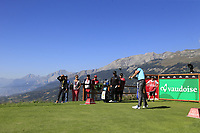 Laurie Canter (ENG) tees off the 7th tee during Saturday's Round 3 of the 2018 Omega European Masters, held at the Golf Club Crans-Sur-Sierre, Crans Montana, Switzerland. 8th September 2018.<br /> Picture: Eoin Clarke | Golffile<br /> <br /> <br /> All photos usage must carry mandatory copyright credit (&copy; Golffile | Eoin Clarke)