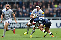 Francois Louw of Bath Rugby is tackled. Aviva Premiership match, between Sale Sharks and Bath Rugby on May 6, 2017 at the AJ Bell Stadium in Manchester, England. Photo by: Patrick Khachfe / Onside Images