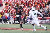 College Park, MD - November 3, 2018:  Maryland Terrapins quarterback Kasim Hill (11) throws a pass during the game between Michigan St. and Maryland at  Capital One Field at Maryland Stadium in College Park, MD.  (Photo by Elliott Brown/Media Images International)