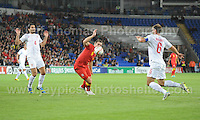 Sam Vokes of Wales in action during the Wales v Serbia FIFA World Cup 2014 Qualifier match at Cardiff City Stadium, Cardiff, Wales -Tuesday 10th Sept 2014. All images are the copyright of Jeff Thomas Photography-07837 386244-www.jaypics.photoshelter.com