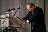 Former President George W. Bush speaks at the State Funeral for his father, former President George H.W. Bush, at the National Cathedral, Wednesday, Dec. 5, 2018, in Washington.<br /> Credit: Alex Brandon / Pool via CNP