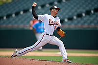 Bowie Baysox pitcher Cristian Alvarado (32) during an Eastern League game against the Akron RubberDucks on May 30, 2019 at Prince George's Stadium in Bowie, Maryland.  Akron defeated Bowie 9-5.  (Mike Janes/Four Seam Images)