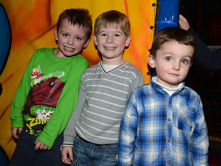 Tyler Finnegan, Kyle Kierans and Scott Meegan pictured at the Rathmullen Community House Christmas party at Drogheda Leisure Park. Photo:Colin Bell/pressphotos.ie