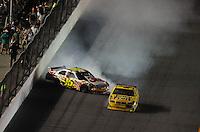 Jul. 5, 2008; Daytona Beach, FL, USA; NASCAR Sprint Cup Series driver Greg Biffle (16) crashes after contact with Juan Pablo Montoya (42) during the Coke Zero 400 at Daytona International Speedway. Mandatory Credit: Mark J. Rebilas-