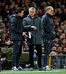 Manchester United manager Jose Mourinho discusses tactics with Assistant coach Rui Faria during the UEFA Europa League Quarter Final 2nd Leg match at Old Trafford, Manchester. Picture date: April 20th, 2017. Pic credit should read: Matt McNulty/Sportimage