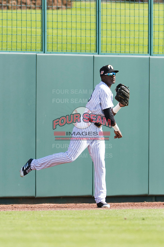 Glendale Desert Dogs left fielder Estevan Florial (13), of the New York Yankees organization, throws to the infield during an Arizona Fall League game against the Scottsdale Scorpions at Camelback Ranch on October 16, 2018 in Glendale, Arizona. Scottsdale defeated Glendale 6-1. (Zachary Lucy/Four Seam Images)