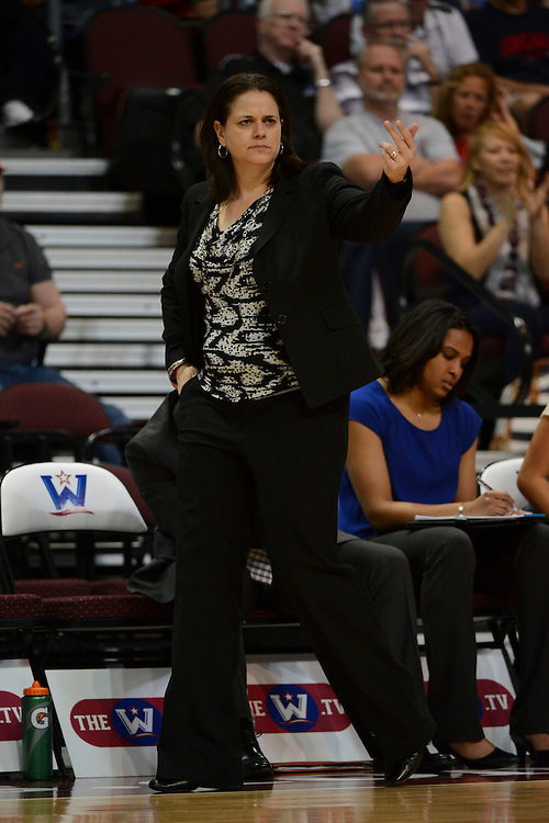 March 6, 2014; Las Vegas, NV, USA; Loyola Marymount Lions head coach Charity Elliott instructs against the San Francisco Lady Dons during the second half of the WCC Basketball Championships at Orleans Arena.