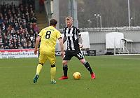 Adam Eckersley taking on Scott Pittman in the St Mirren v Livingston Scottish Professional Football League Ladbrokes Championship match played at the Paisley 2021 Stadium, Paisley on 14.4.18.
