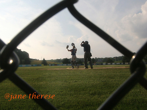 Nazareth's catcher #36 Coty Pensyl waits for a throw home against Palmer on Thursday July 20, 2006 in Nazareth, Pa. Nazareth went on to win their 6th Norco Legion Baseball playoff championship with a 4-1 win against Palmer. (Jane Therese/ Special to The Morning Call.)