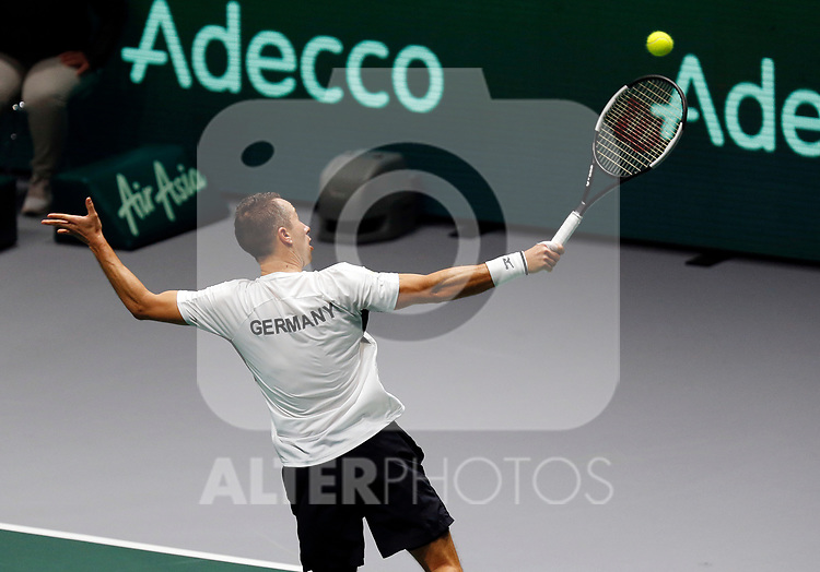 Philipp Kohlschreiber of Germany plays a backhand against Philipp Kohlschreiber of Germany during Day 3 of the 2019 Davis Cup at La Caja Magica on November 20, 2019 in Madrid, Spain. (ALTERPHOTOS/Manu R.B.)