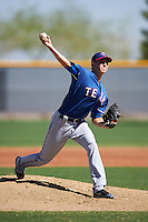Texas Rangers pitcher Cody Palmquist (80) during an Instructional League game against the Kansas City Royals on October 4, 2016 at the Surprise Stadium Complex in Surprise, Arizona.  (Mike Janes/Four Seam Images)