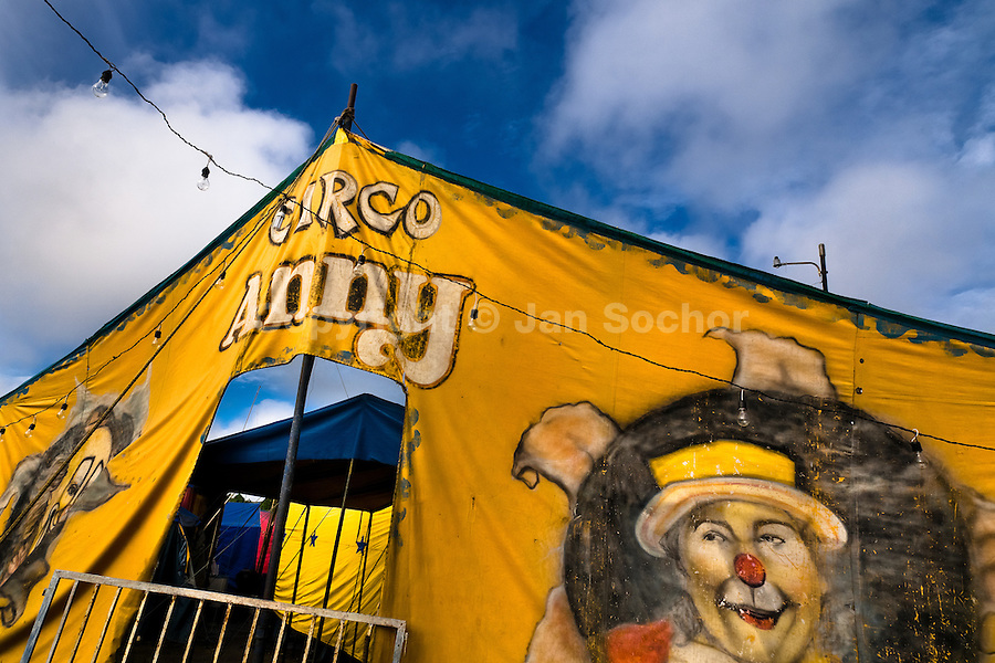 The Circo Anny tent pitched on a circus site in a remote community in the Amazon region of Ecuador, 4 July 2010. The Circo Anny circus belongs to the old-fashioned traveling circuses with a usual mixture of acrobat, clown and comic acts. Due to the general loss of popularity caused by modern forms of entertainment such as movies, TV shows or internet, these small family enterprises balance on the edge of survival. Circuses were pushed away and now they have to set up their shows in more remote villages. The circus art and culture is slowly dying.