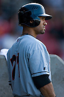 David Cook #21 of the Birmingham Barons waits for his turn to bat at Five County Stadium August 15, 2009 in Zebulon, North Carolina. (Photo by Brian Westerholt / Four Seam Images)