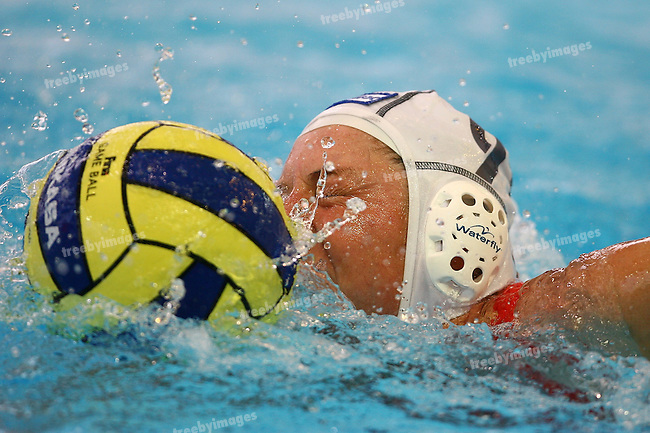 12th Fina World Swimming Championships, Netherlands had a easy win over Khazikstan in the Womens water Polo, GillianVan Den Berg drives forward